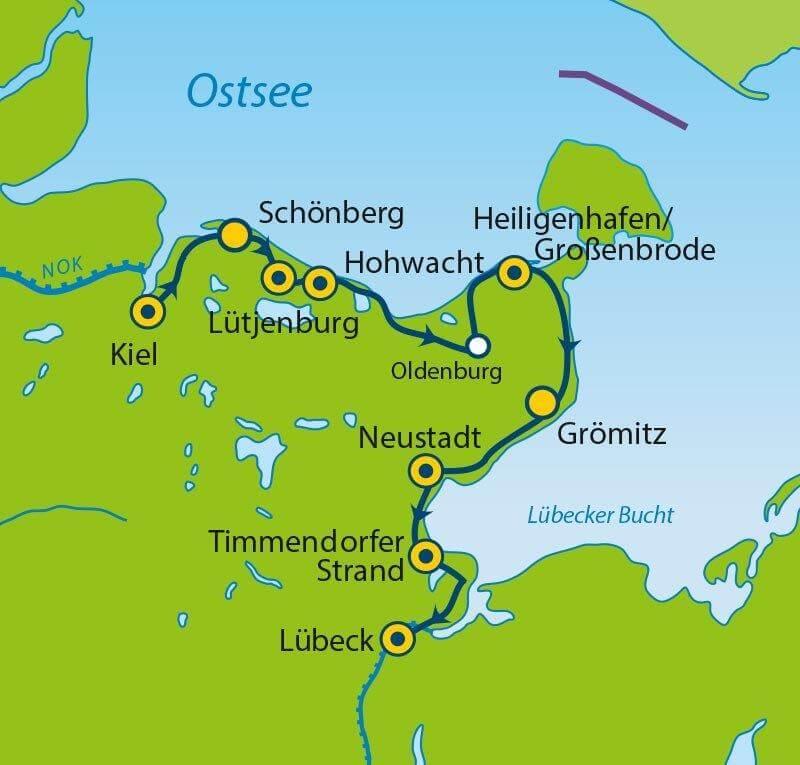 Ostseeradweg von Kiel bis Lübeck - Radtour planen
