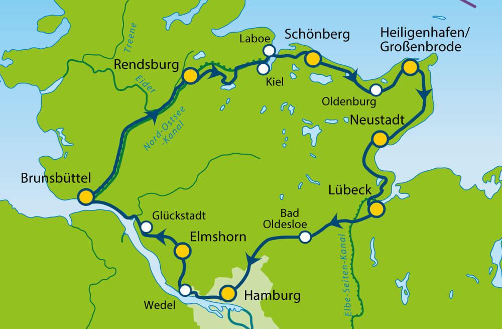 Lübeck nach kiel radweg von Ostseeküstenradweg